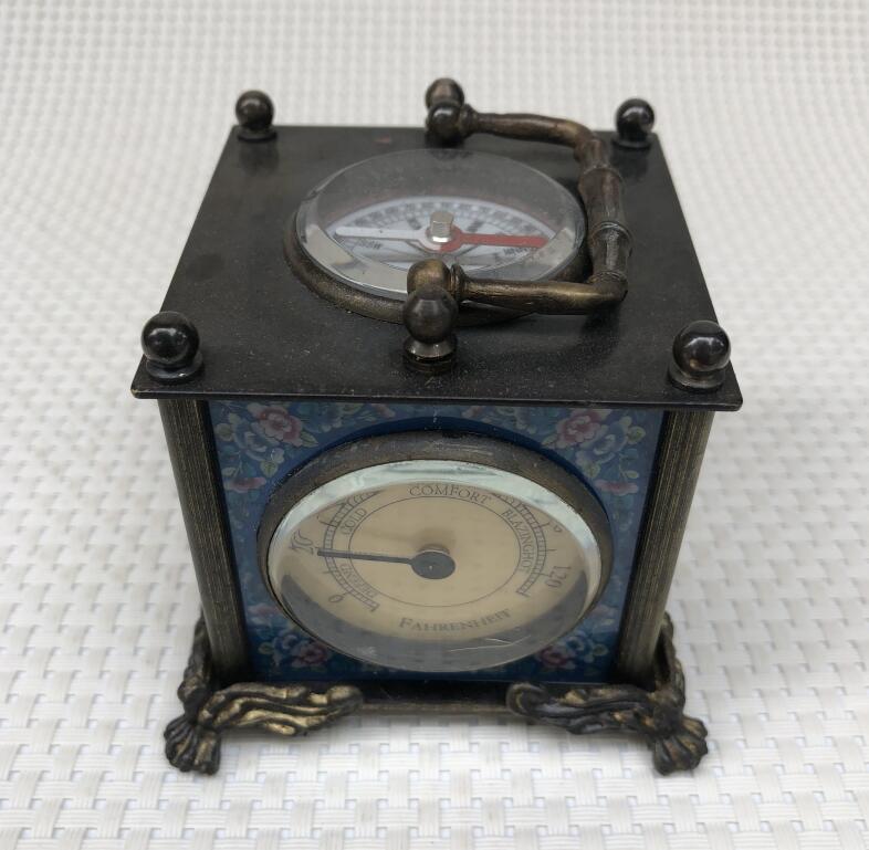 Antique Brass Cloisonne Western Clock Top Compass European Home Retro Decoration