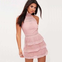 Wholesale 2018 New Dress Black And White Pink Lace Fashion Celebrity Casual And Elegant Cocktail Party