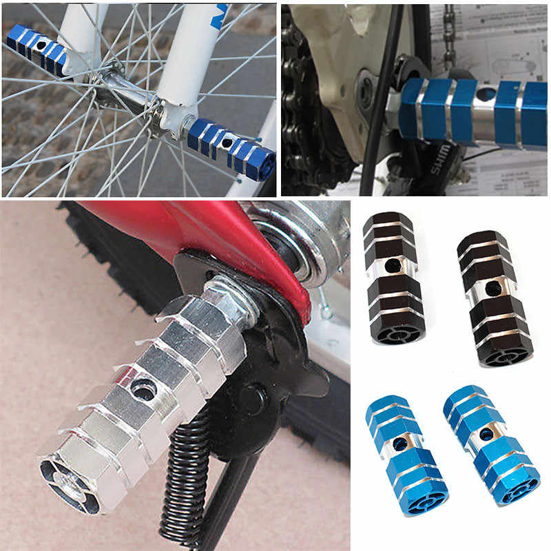 1Pair Aluminum Nonslip MTB Bike  Bicycle Pedal Front Rear Axle Foot Pegs Footrest Lever Cylinder Bike Accessories