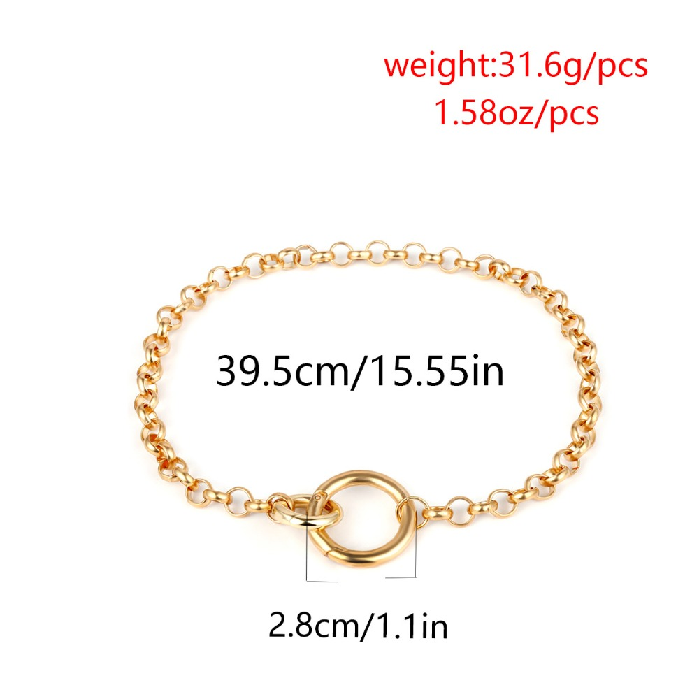 KMVEXO Vintage Punk Curb Chain Necklace for Women 19 New Gold Silver Big Round Pendant Collar Choker Sweater Chain Necklaces 13