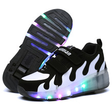 Black Kids Shoes with LED Children Roller Skate Sneakers Heelys Wheels Glowing Led Light Up for Boys Girls Zapatillas Con Ruedas(China)