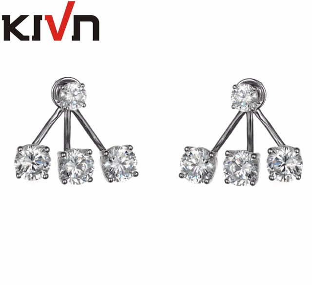Kivn Fashion Jewelry Stunning Cz Cubic Zirconia Bridal Wedding Earring Ear Jackets For Women Mothers Birthday