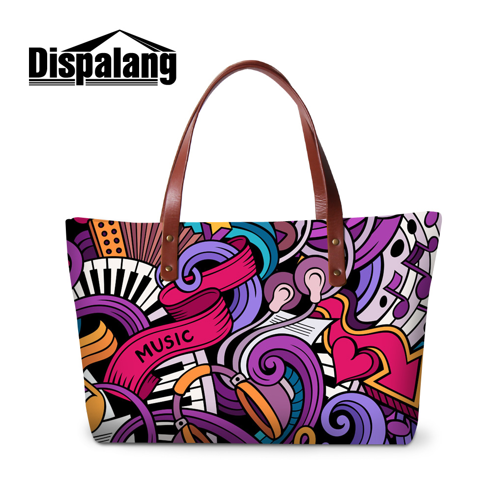 Dispalang creative design MUSIC print fun personality handbags for girls women fashion shoulder shopping bags female daily totes