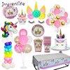 Unicorn Party Supplies Pink Rainbow Unicorn Banner Plates Balloons Napkin Cupcake Wrapper Baby Shower Kids Birthday
