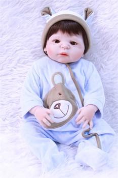 "Real silicone reborn baby girl dolls 22""boy reborn babies kids educational toy dolls gift bebe realistic reborn bonecas"
