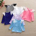 LPZIHJY flutter sleeves lace top t-shirt baby girl solid long sleeve t shirt kids o-neck toddler shirts  summer girls t shirts