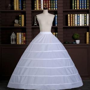 Image 4 - Dantel kenar 6 Hoop Petticoat jüpon topu cüppe şeklinde gelinlik 110cm çapı iç çamaşırı kabarık etek düğün aksesuarları