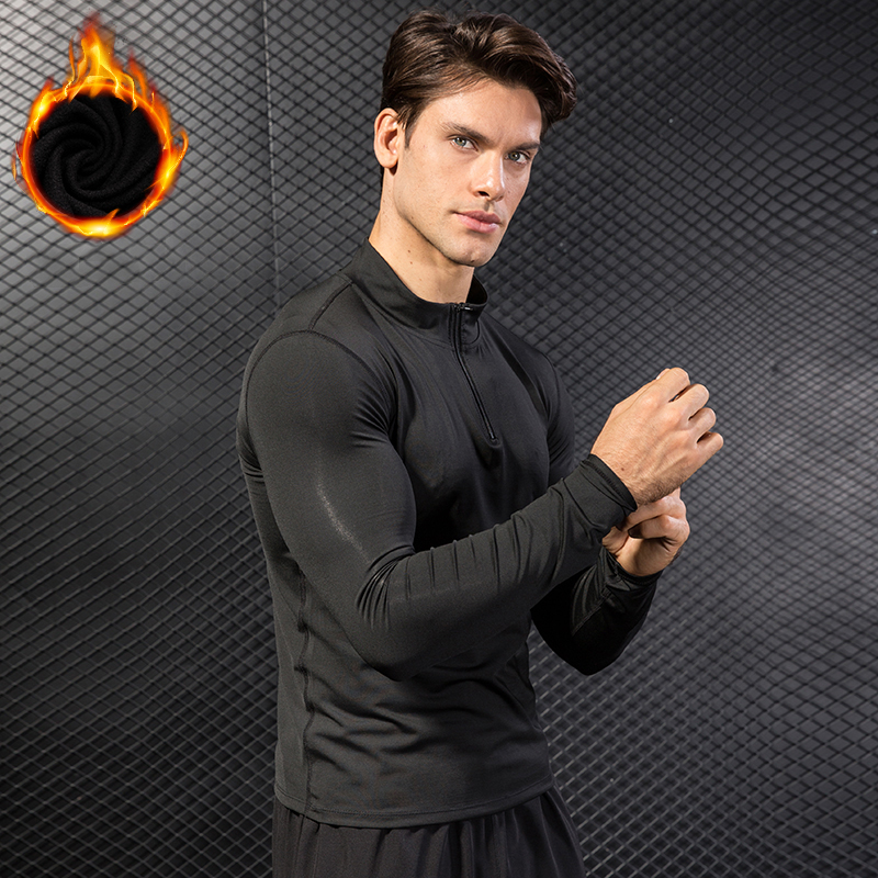 Brand Add Wool Compression Shirt Long Sleeve Sport T-Shirt Quickly Dry Fitness Gym Top Tee Male Yoga Clothes Running Shirt Men