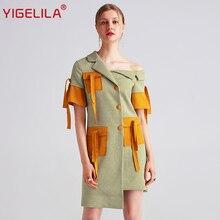 YIGELILA 2019 Latest Summer Women Fashion Casual Patchwork Asymmetrical Neck Sheath Knee Length Plaid Dress 62709