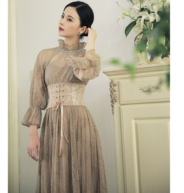 Spring Autumn Women Vintage Royal Lace Long Dress French Court Style Lantern Sleeve Embroidery Bandage Waist