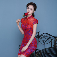 Modern Chinese Traditional Red Wedding Gown Plus Size Bride Cheongsam Dress Short Lace Qipao Mini Rhinestone Asian Style Dresses