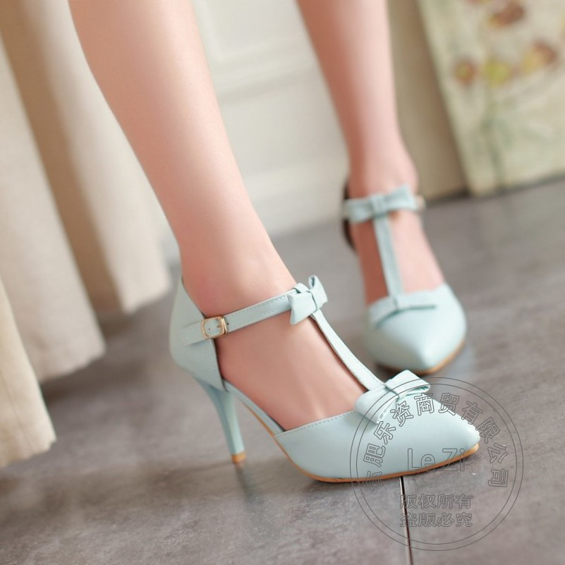 Buckle Strap Pu T Strap Pointy Stiletto Heels Pu Shoes font b Woman b font Heels