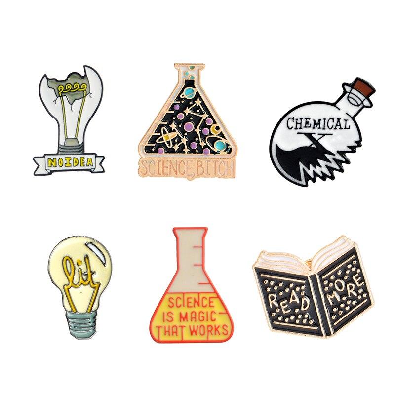 Magic Science enamel pin Light bulb No Idea Chemical Beaker badge brooch Lapel pin Denim Jeans shirt bag Cartoon Jewelry Gift 3