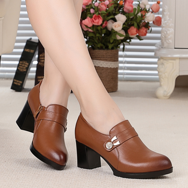 Genuine leather woman shoes 2016 autumn OL commuter simple fashion deep mouth with waterproof cowhide shoes