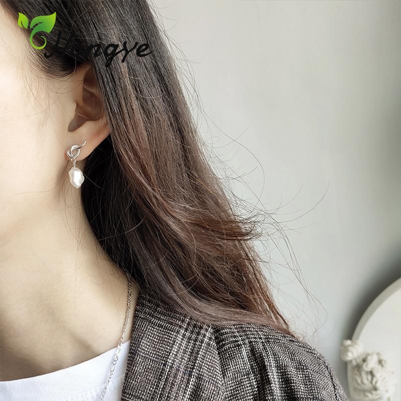 Hongye Silver 925 Women Drop Earrings Fine Jewelry Simple Design Chic Dangler Sweet Girls Baroque Pearl Hanging Earring New