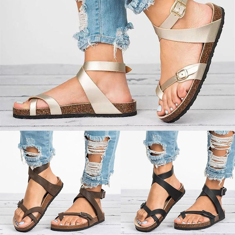 2019 Summer Woman Sandals Flat Sandals Roman Belt Buckle Shoes Casual Female Gladiator Sandals Ladies Sandalia Feminina