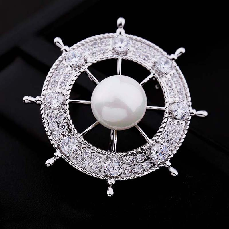 BSL Jewelry Store High Quality Fashion Rudder Shape Brooches For Women With Zircon And Shell Pearl The Best Christmas Gift