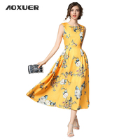 AOXUER Women Runway New Elegant Sleeveless Flowers Print Dress O Neck Empire Slim Fashion Party Long