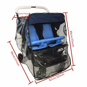 Weather Shield for double Stroller Rain Cover Universal Side By Side baby Pram Waterproof Stroller Accessories дождевик на коляс