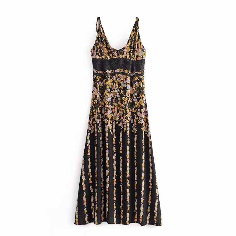 2019 new women vintage sexy deep v neck lace patchwork printing long dress female sling vestido chic back buttons dresses DS2028