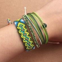 4pcs Bracelet Set Handmade Green String Weave Friendship Bracelets Crystal Multi Layers Bohemian Summer Bangles Jewelry