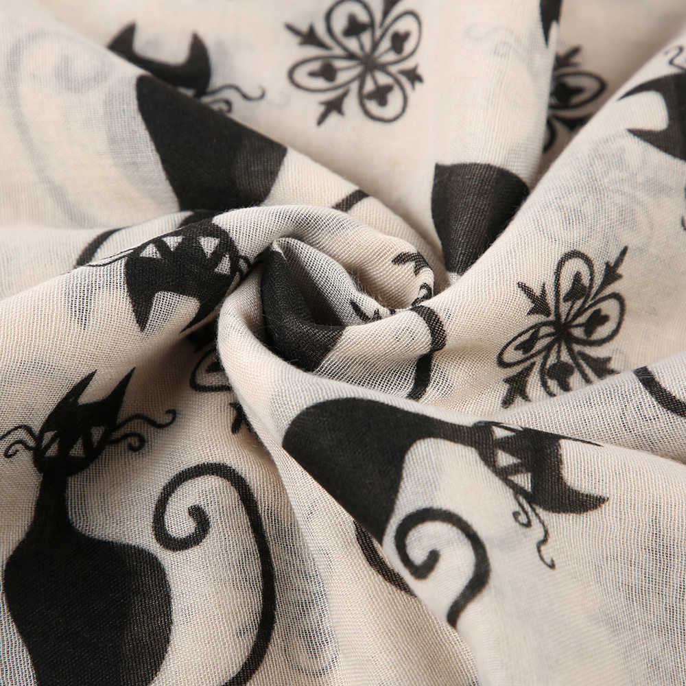 Winfox Розовый Серый Милый Черный кот печати длинный шарф для женщин шаль Женский хиджаб платок