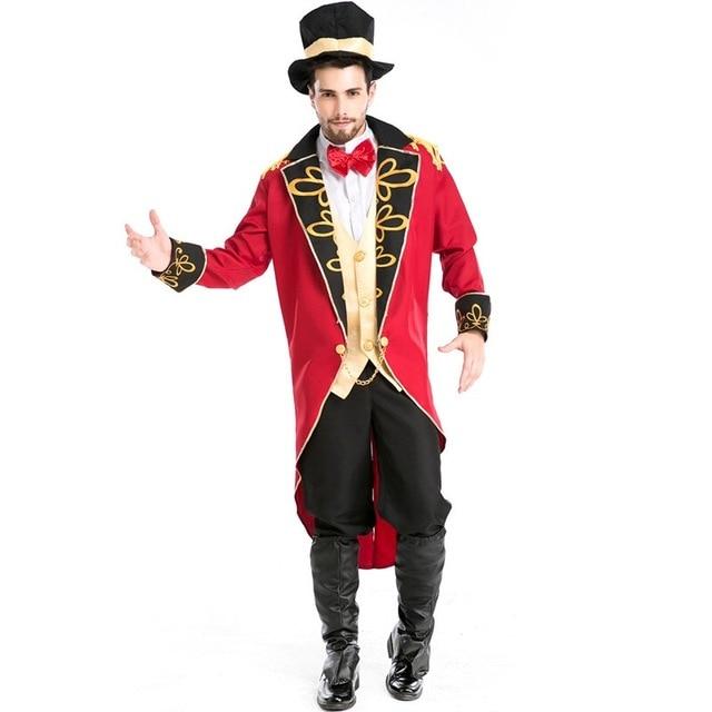 Cadılar bayramı vampir sihirbaz Ringmaster kostüm erkek sirk lider smokin ceket Vintage Tailcoat süslü elbise kıyafet erkek şapka