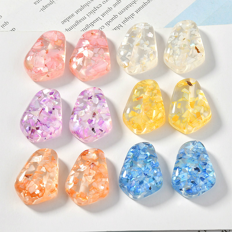 20 pcs AB Color Resin Shell Cabochons Crafts Jewelry Making Mixed Color 21x19mm