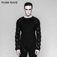 PUNK RAVE Men's T shirt Gothic Punk Iron Man Heavy Metal Motocycle Casual Long Sleeve Tops Shirt Personality Hip Hop Streetwear