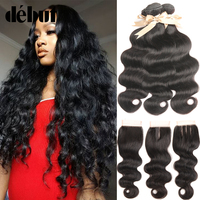 Debut Malaysian Body Wave Hair 3 Bundles with Closure Swiss Lace 4x4 Bodywave Human Hair Weave Bundels with Closure Wet and Wavy