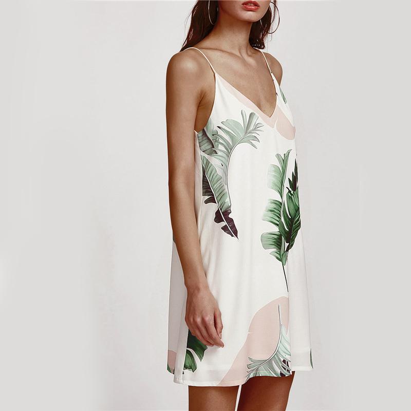 Sheinside White Cami Summer Dress Women Palm Leaf Print Double V Neck Casual Shift Dresses 17 Fashion Sexy Sleeveless Dress 12