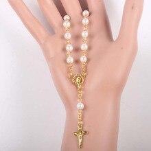Religijne Vintage modlitwa kobiety Christian korale szklana perła koralik religijny bransoletka z różańcem złoty kolor