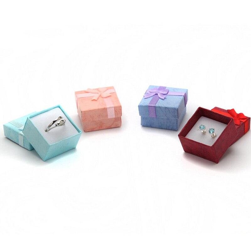 Мода красочные 1 шт. Новый 4*4 см Jewery Организатор Box Кольца хранения милый поле Малый Подарочная коробка для кольца Серьги 4 цвета ...