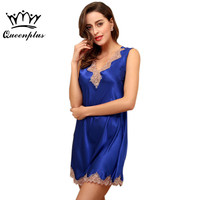 Queenplus New Design Women Lace Nightgown 2017 Brand Summer Ladies Dressing Gown V Sexy Female Short Nightie Sleep Dress