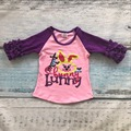 Новое поступление Пасха детские девушки детской одежды печати розовый кролик милый фиолетовый хлопок бутик топ Футболки регланы одежда оборками симпатичные