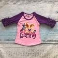 Nueva llegada de Pascua baby girls kids wear imprimir conejito rosado lindo púrpura de algodón boutique top Camisetas ropa raglans ruffles lindo