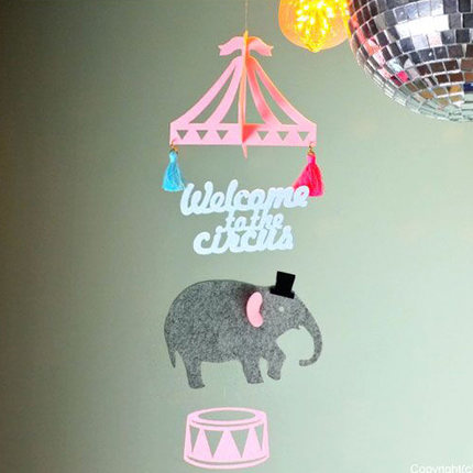 Cute Cartoon Namiot Cyrkowy Słoń Diy Czuł Ozdoby Dla Dzieci Pokój