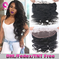 8A Ear To Ear Lace Frontal Closure Brazilian Body Wave Virgin Human Hair Full Frontal Closure 13x4 Lace Frontals With Baby Hair