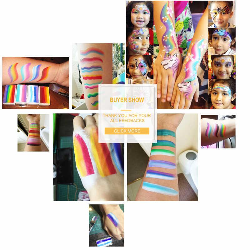 DiYeah 11 Renkler Gökkuşağı Vücut yüz boyası Makyaj Boyama Pigment 30g Vücut Sanatı Cadılar Bayramı Neon UV Metalik Bölünmüş Kek pro