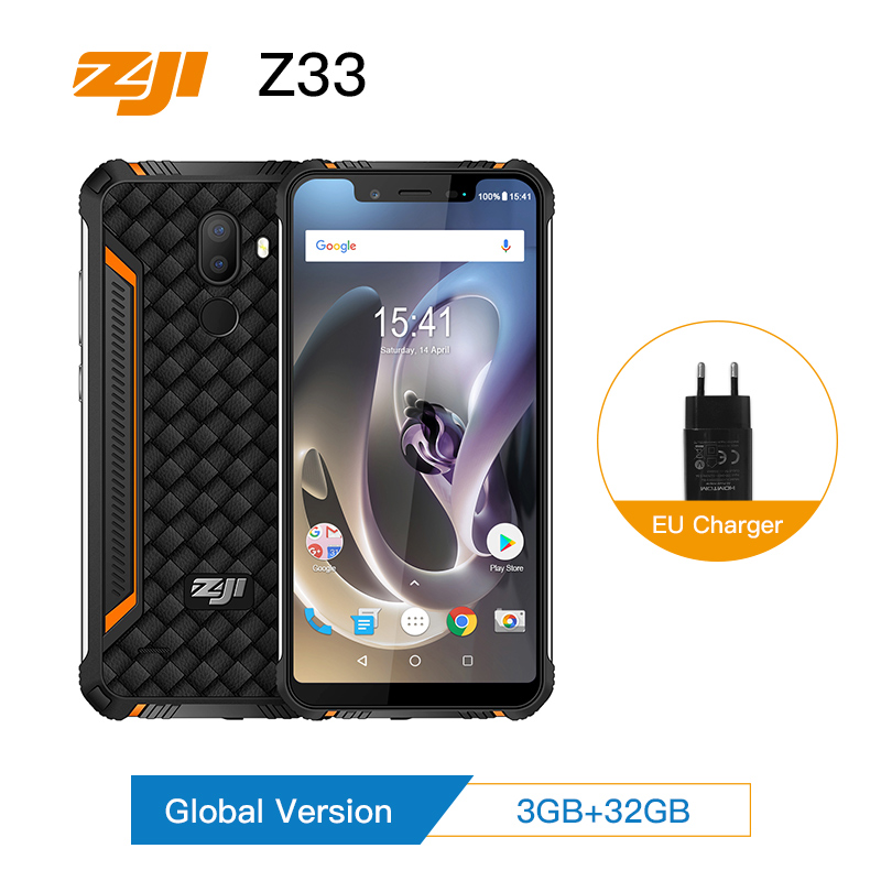 "Global Version HOMTOM ZJI ZOJI Z33 IP68 Waterproof Smartphone 5.85"" MT6739 Quad Core Cell Phone 4600mAh Face ID 4G Mobile Phone"