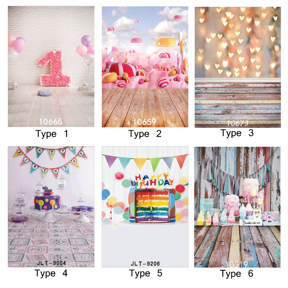 Photographic Background 1st Birthday Cake Candy Party 5X7ft Vinyl Backdrop Fond Studio Photo for Weddings Children Baby Newborn
