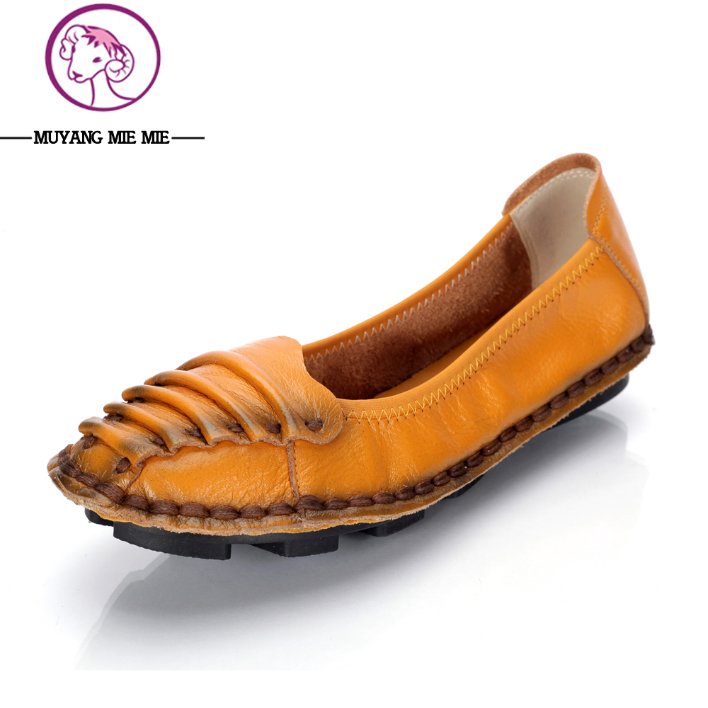 2017 Shoes Woman Genuine Leather Women Shoes Flats Loafers Slip On Women's Flat Shoes Moccasins Handmade Comfortable Women Flats women s genuine leather slip on loafers brand designer flats moccasins leisure espadrilles antiskid comfortable shoes for women