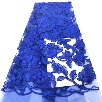 royalblue Embroidery Designs Dress Making Mesh Lace Fabric / Custom New Sample African French Net Lace Fabric TS7288