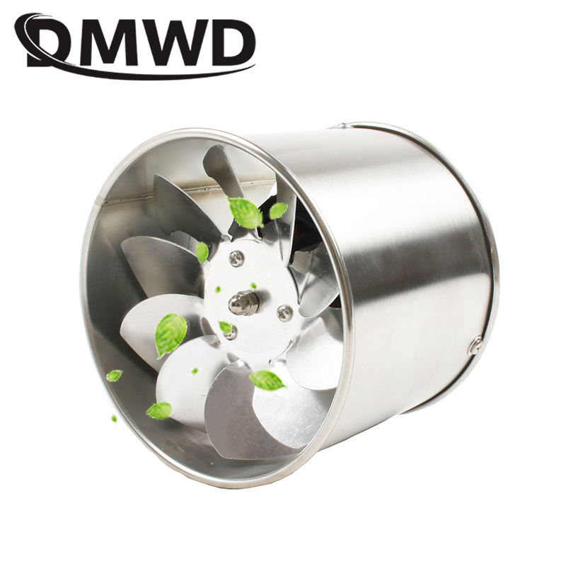 DMWD 4 Inch Pipe Stainless Steel Exhaust Fan Window Duct Ventilation Blower 4'' Toilet Kitchen Bathroom Air Ventilator Extractor