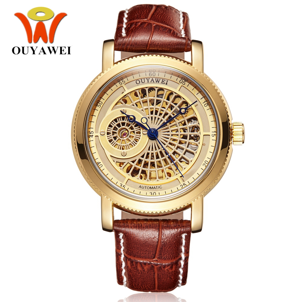 OYW Automatic Self Wind Men Analog Wristwatch Man Luxury Gold Leather Strap Skeleton Fashion Business Male Watch Hombre Horloge