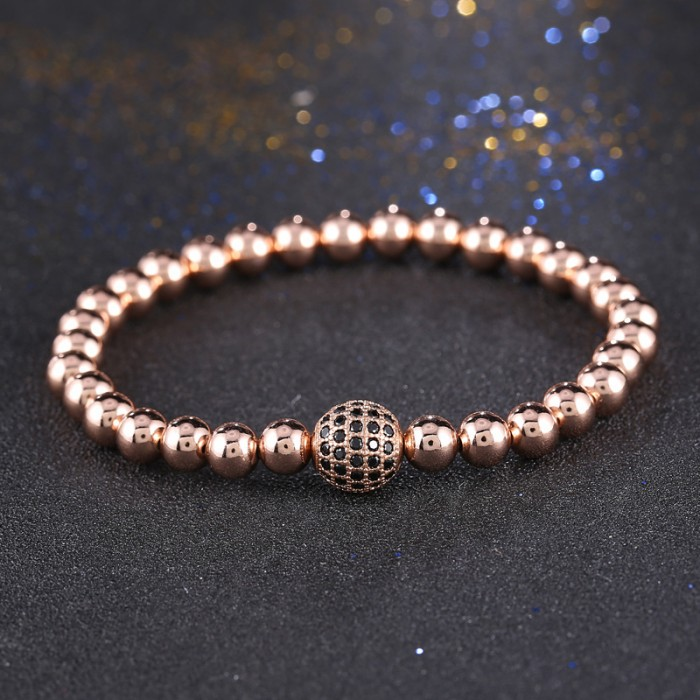 KANGKANG 2019 Trend charm 6mm Gold silver rose gold black Hematite Beads Bracelets Pave CZ Metal ball Jewelry for women men gift in Strand Bracelets from Jewelry Accessories