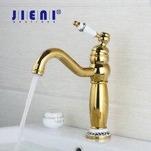 Ванная комната кран полированный Золотой поворотный 360 бортике Одной ручкой раковина torneira Cozinha, смесители и краны