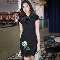 original 2018 brand vestidos de fiesta black lace vintage embroidery sequine summer sheath party dresses women wholesale