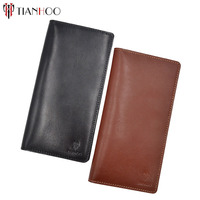 TIANHOO Women Men Long Wallets Vegetable Tanned Leather Coin Purse Money Pocket Luxury Clutches Case ID