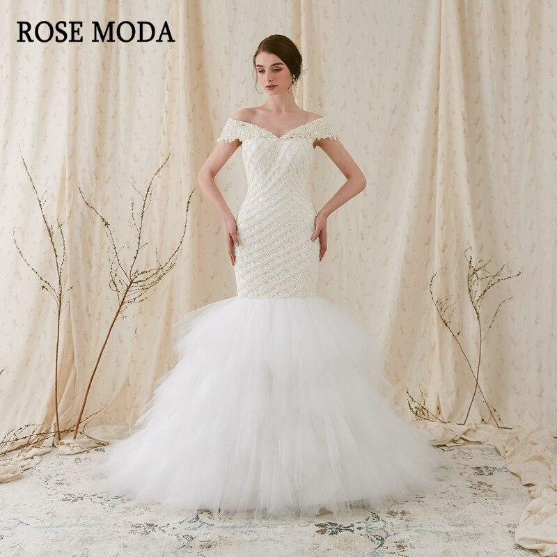 Rose Moda Luxury Mermaid Wedding Dress 2019 Off Shoulder